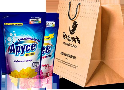 Embalagem Apyce e Sacola Terranutra Mercado Natural